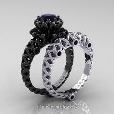 Caravaggio Lace 14K Black and White Gold 1.0 Ct Black Diamond Engagement Ring…