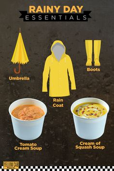 Stay safe and dry this rainy season! Cream Of Tomato Soup, Pizza Company, Yellow Car, Squash Soup, Rainy Season, Good Pizza, Marketing Strategies, Stay Safe, Cold Weather