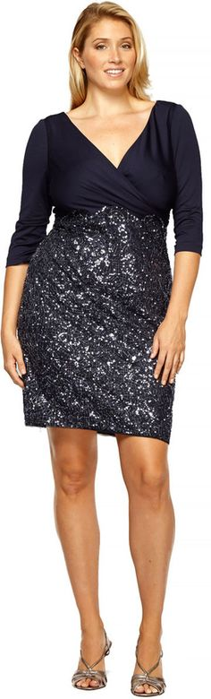 Plus Size Cocktail Dress - Plus Size  3/4 Sleeve Dress in Navy