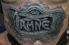 Hyper-Realistic Tattoos You Won't Believe. #5 Stomach Plaque. This guy loved stone plaques so much, he decided to...
