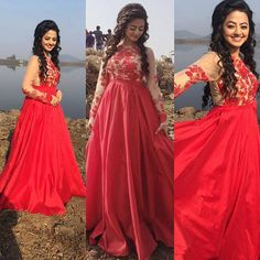 ❤️❤️ designed by 😘😘☺️ Indian Fashion Trends, Indian Bridal Fashion, Lovely Dresses, Beautiful Gowns, Girls Designer Dresses, Hand Embroidery Dress, Lehnga Dress, Indian Celebrities, Actors