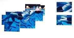 David HOCKNEY :  Robert Littman Floating in My Pool, Oct. 1982      photographic collage  22 1/2 x 30 in.