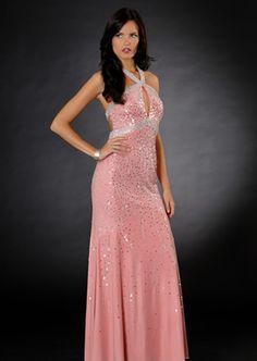 Pink Satin Halter Beads Working Paillette Charming Floor Length Evening Dress