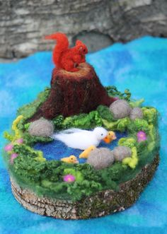 Waldorf needle felted landscape with squirrel, duck and ducklings by AtelierAurea (made to order)