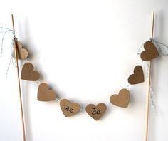 Cake Bunting We Do 12 of Kraft Hearts  Wedding Love by LBCpaper
