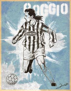 Ilustração de um dos maiores jogadores italianos de todos os tempos, o meia atacante Roberto Baggio. Atuou nos três maiores clubes italianos, Juventus, Milan e Inter de Milão. No Brasil, ficou marc…