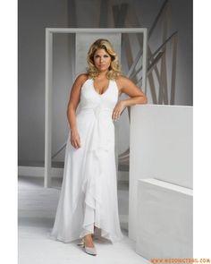 Elegant Simple Halter V-neck Chiffon Casual Plus Size Wedding Dresses