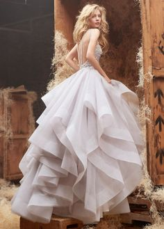 hayley paige bridal tulle high neck crystal alabaster  gown