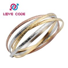 Best personalized colorful bangle bracelets design has 7pcs of bangle,including 2pcs gold, 2pcs rose gold, 2 pcs silver. They are crafted with 316L stainless steel with low-reactivity, resistance to tarnish, excellent durability properties. Simple and elegant style makes it versatile to wear one at a time or stack all together. Give it to your loved