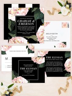 Minted artist duo Baumbirdy's beautiful square wedding invitation sets the tone for a dramatic spring or summer wedding celebration with pink peonies and modern typography.