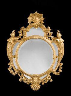 "Gilt Wood Figural Mirror Ca1740-1750 Italy. 50""H x 37""W."
