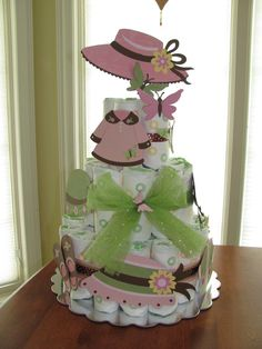Diaper Cake made with Kate's ABC's Cricut Cartrdige.