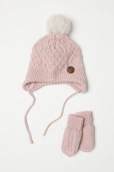 Bonnet et mitaines - Rose poudré - ENFANT   H M CA 1 Mitaines, Rose Poudre 883c7b043ee