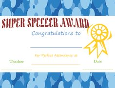 Spelling Busy-Bee Award Certificate Template