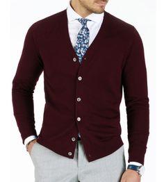 Grand Frank: BURGUNDY CARDIGAN 100% Merino Wool