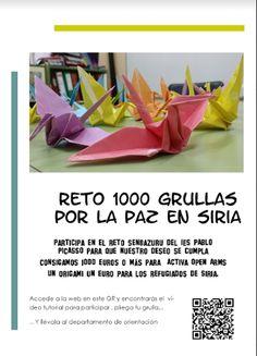 Reto 1000 grullas por la paz en Siria. IES Pablo Picasso. Pinto. #syria #siria #peace #paz