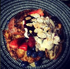 Cafe Lua, french toast with orange yoghurt, berries, flaked almonds.