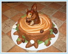 Squirrel Island Themed Cake Decorated With Fondant Topped Squirrel Cake, Squirrel Food, Adult Birthday Cakes, Dad Birthday, Camping Cakes, Cake Decorating With Fondant, Little Cakes, Sugar Art, Cake Creations