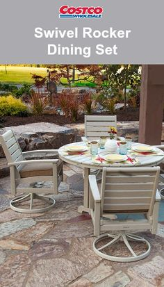 The Artisan 5-Piece Swivel Rocker Dining Set includes a round dining table and swivel rocker dining chairs with Sunbrella® covered marine grade foam cushions. Each piece in the set is constructed using POLYWOOD® lumber made from mostly recycled content and marine grade quality stainless steel hardware, allowing it to withstand many of nature's elements.