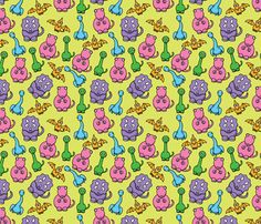 Pastel Dinosaurs fabric by studiofibonacci on Spoonflower - custom fabric