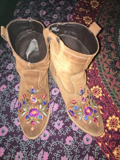Bohemian Embroidered Booties by IslandChickDesigns on Etsy