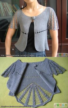 Crochet Poncho With Sleeves, Lace Cardigan, Crochet Cardigan, Crochet Lace, Free Crochet, Knitting Patterns, Crochet Patterns, Crochet Designs, Crochet Clothes