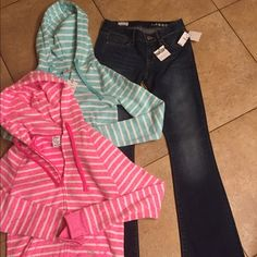 Gap NWT bundle of 3 size 25R/S NWT bundle includes a pair of Gap curvy jeans size 25R. 2 Live Love Dream jersey hoodies size S  Tags attached no flaws GAP Other