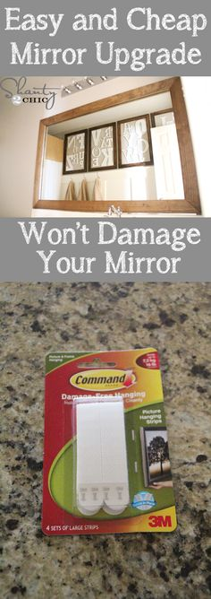 Cheap and easy way to upgrade a builder mirror!  Won't damage mirror!