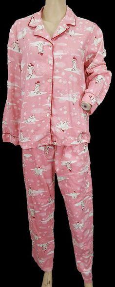 bb8498482ff Details about Victorias Secret Dreamer Polar Bear 2pc Pajama Set Pink Flannel  Pjs womens M
