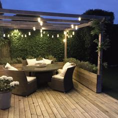 These low voltage, black rubber cable festoon lights are part of our cutting edge ConnectGo range, which boasts impressive versatility in its interchangeable power sources. With warm white LEDs. Patio Diy, Backyard Patio, Backyard Landscaping, Backyard Ideas, Garden Ideas, Garden Veranda Ideas, Landscaping Ideas, Backyard Designs, Diy Deck