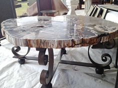 Petrified Wood Slab Coffee Table by reworks