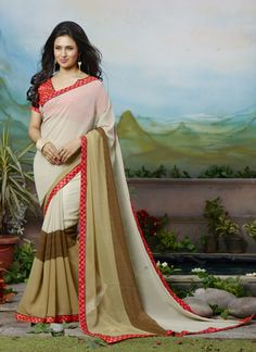 Ishita Bhalla Wear Triple Shade Colour Georgette Printed Saree
