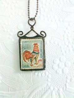 Vintage Stamp Necklace Rooster Stamp Necklace by Mystarrrs on Etsy