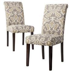 Avington Print Accent Dining Chair - Ikat Gray (Set of 2) : Target