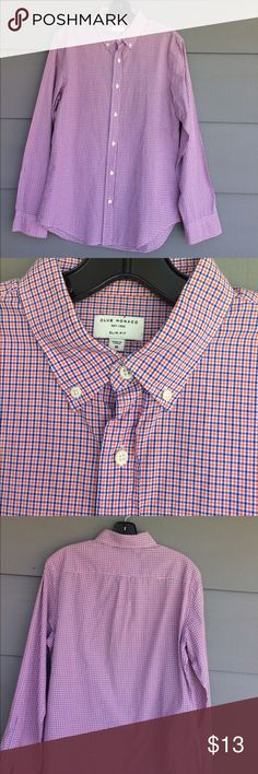 Club Monaco men's slim fit dress shirt Classic orange and blue check on lightweight cotton. New condition. Excellent style and fit that club Monaco is known for Club Monaco Shirts Casual Button Down Shirts