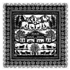 Esther Aduriz  Gerber, Scherenschnitt Cross Stitch Embroidery, Cross Stitch Patterns, Harmony Design, German Folk, Tattoo Paper, Visual Diary, Silhouette Art, Window Art, Kirigami