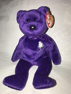 efe91c14bc6 Ty Beanie Baby Princess Diana bear P.E.pellets 1997 Purple White Rose Plush  MWMT  Ty