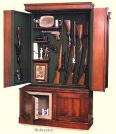 A hidden gun cabinet in plain sight is one of most ingeniously concept that I have seen unlike any gun safe or gun cabinet you have seen. Hidden Gun Storage, Weapon Storage, Safe Storage, Hidden Gun Safe, Hidden Weapons, Wood Gun Cabinet, Hidden Gun Cabinets, Hidden Cabinet, Gun Rooms
