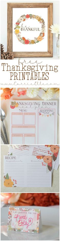 Free set of matching Thanksgiving printables - printable wall art, a Thanksgiving meal planning printable, recipe cards and place cards for the dinner table!