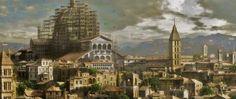 Il Vaticano e la cupola di Michelangelo in costruzione (Roma) Vatican city and Michelangelo's dome under construction (Rome) Assassin's creed brotherhood