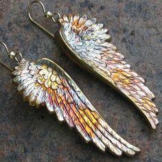 Angel Wing Earrings. Pretty, love the little splash of color.