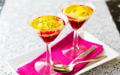 Raspberry coctail with vanilla custard and passionfruit