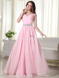 Formal Pink A-Line Floor Length Chiffon V-Neck Cap Sleeve Prom Dress - US$122.39 - Style P0405 - Victoria Prom