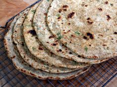 """cauliflower roti""""s from the cooking show spice goddess. they are like indian tortillas - i have personally made these, and this is my go to roti recipe - jt Vegan Foods, Vegan Recipes, Cooking Recipes, Vegan Cauliflower, Indian Cauliflower, Cauliflower Tortillas, Breakfast Desayunos, Breakfast Dishes, Roti Recipe"""