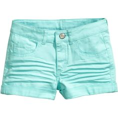 Twill Shorts $12.99 ($13) ❤ liked on Polyvore featuring shorts, aqua, aqua shorts, twill shorts, elastic waist shorts, elastic waistband shorts and cuffed shorts