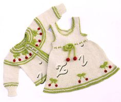 Dress with cherries for little girl 06 months MADE