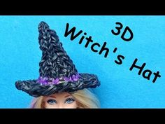 Rainbow Loom 3D WITCH'S HAT for Barbie. Designed and loomed by DIY Mommy. Click photo for YouTube tutorial. 09/12/14.