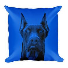 Doberman Pinscher Duotone Comic Blue Decorative Pillow