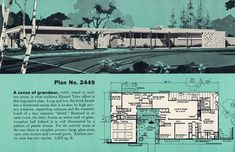 Plan 2449 Architect Edward Tyler 2252 sq ft The Sims, Sims 4, Vintage House Plans, Modern House Plans, House Floor Plans, Mid Century Ranch, Mid Century House, Vintage Architecture, Architecture Plan