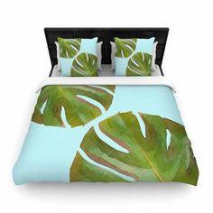 East Urban Home Oriana Cordero 'Tropico V' Woven Duvet Cover Color: Aqua, Size: Full/Queen